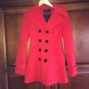 BCBG red wool jacket with black bottons